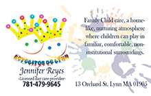 Business cards for Day care Lynn MA